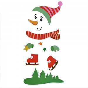Red Hat Snowman Christmas Fridge Magnet Sticker Christmas Home Decoration