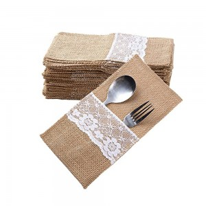 12pcs Christmas Tableware Packing Bags Knife and Fork Bags Linen Lace Cutlery Holders Party Decorations