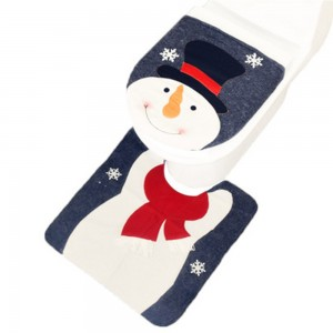 Snowman Christmas U-Shaped Floor Mat and Toilet Lid Cover