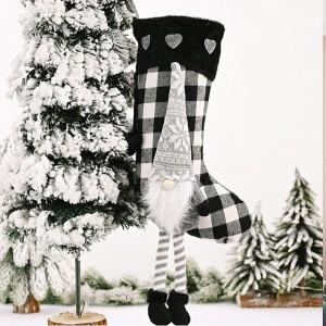 Grey Christmas Socks Lattice Pattern Gift Bag Candy Bag