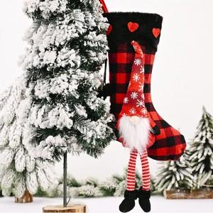 Red Christmas Socks Lattice Pattern Gift Bag Candy Bag