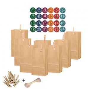 1Set 24pcs Christmas Packing Bags Gift Bags Kraft Paper Bags