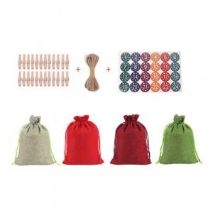 1Set 24pcs Christmas Packing Bags Gift Bags Linen Drawstring Bags