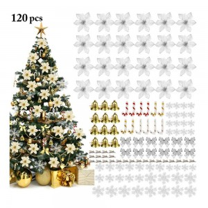 Silver 120pcs Artificial Flower Set Christmas Tree Decorations