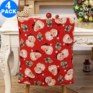 4Pcs Christmas Chair Back Covers Cute Pattern
