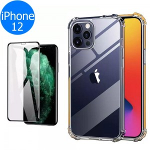 Airbag Phone Case with Glass Screen Protector Phone Back Cover Shock Absorption Phone front and Back Cover for iPhone 12
