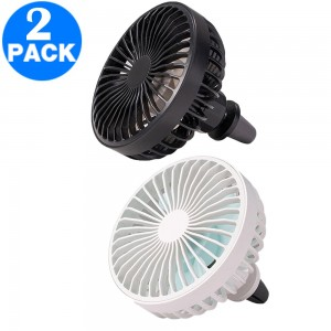 2 X Mini Car Fan with LED Light Car Air Outlet Fan Portable 360 Degree Rotatable Cooling Fan for Car Air Vent Black White