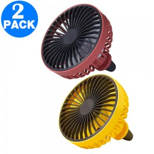 2 X Mini Car Fan with LED Light Car Air Outlet Fan Portable 360 Degree Rotatable Cooling Fan for Car Air Vent Red Yellow