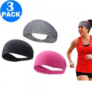 3pcs Women Men Sport Sweatbands Breathable Stretch Headbands Non-Slip Sport Head Bands Black Grey Pink