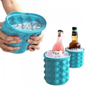 2 X Large Ice Cube Making Buckets Silicone Ice Making Mould with Lid