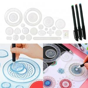 27 Pieces Original Spirograph Design Set Educational Toys Spirograph Drawing Toys Set Tin Draw Drawing Kids Art Craft Create