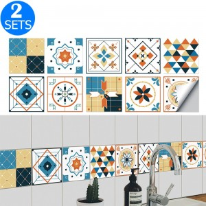20Pcs Self Adhesive Tile Stickers 10 x 10cm Wall Stickers Retro Tile Stickers Waterproof Oil-proof Cabinet Stickers Home Decoration Style 1