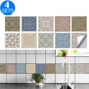 40Pcs Self Adhesive Tile Stickers 10 x 10cm Wall Stickers Retro Tile Stickers Waterproof Oil-proof Cabinet Stickers Home Decoration Style 4