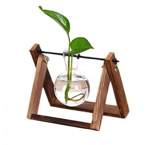 Indoor Plant Glass Pot Plant Terrarium with Wooden Stand Tabletop Glass Bulb Vase Home Garden Office Decoration Single Pot