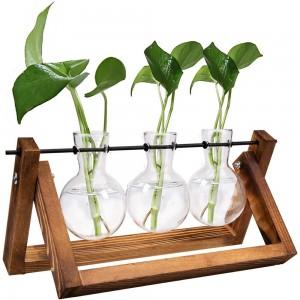 Indoor Plant Glass Pot Plant Terrarium with Wooden Stand Tabletop Glass Bulb Vase Home Garden Office Decoration Triple Pots