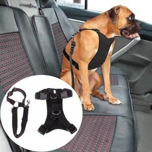 L Black Car Seat Safety Belt Pet Leash Adjustable Dog Harness Mesh Vest Chest Strap