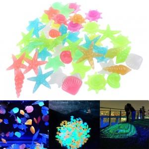100Pcs Luminous Glowing Pebbles Stones Shell Starfish Conch Shaped Glow in the Dark Pebbles Fish Tank Decor