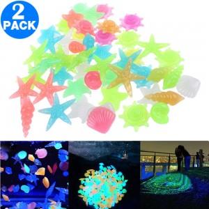 200Pcs Luminous Glowing Pebbles Stones Shell Starfish Conch Shaped Glow in the Dark Pebbles Fish Tank Decor