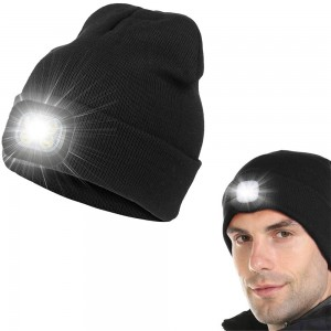 USB Rechargeable Winter Warm Knitted Beanie Hat with LED Light Camping Hat Workwear Hat Black
