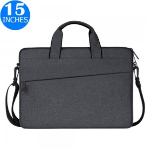 15 Inches Handheld Laptop Bag Portable Lightweight Shoulder Bag Shock Absorption Handbag Dark Grey