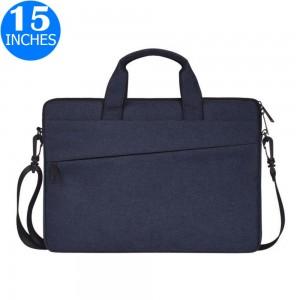 15 Inches Handheld Laptop Bag Portable Lightweight Shoulder Bag Shock Absorption Handbag Navy