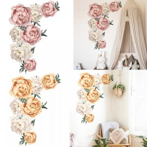 2 X Peony Flower Wall Sticker Self-adhesive Stickers Window Door Stickers Home Art Decoration Pink and Yellow