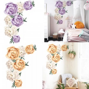 2 X Peony Flower Wall Sticker Self-adhesive Stickers Window Door Stickers Home Art Decoration Purple and Yellow
