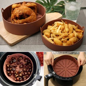 2 X Air Fryer Silicone Pot Air Fryers Oven Accessories Baking Tray Non-stick Reusable Pan Air Fryer Pot with Mat Large Coffee