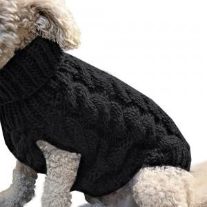 Pet Dog Sweater Pet Turtleneck Knitting Sweater Winter Warmer Clothes Pet Pullover Knitwear Black XL