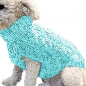 Pet Dog Sweater Pet Turtleneck Knitting Sweater Winter Warmer Clothes Pet Pullover Knitwear Blue L