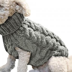 Pet Dog Sweater Pet Turtleneck Knitting Sweater Winter Warmer Clothes Pet Pullover Knitwear Grey XL