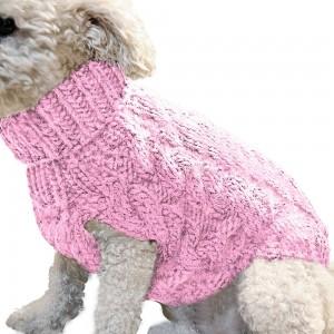 Pet Dog Sweater Pet Turtleneck Knitting Sweater Winter Warmer Clothes Pet Pullover Knitwear Pink L