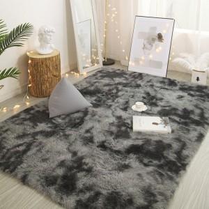 160 x 200cm Dark Grey Soft Rectangle Floor Rug Dye Mat Bedroom Area Rug Shaggy Carpet Home Decoration