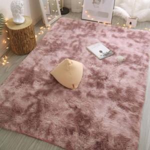 160 x 200cm Pink Soft Rectangle Floor Rug Dye Mat Bedroom Area Rug Shaggy Carpet Home Decoration