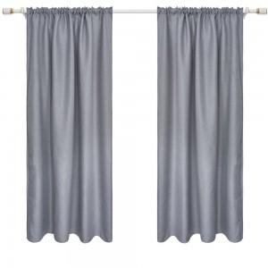 2Pcs Grey 140x240cm Blackout Window Curtains Room Darkening Curtains Home Accs