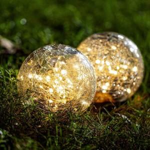 4 X Warm White Cracked Glass Solar Powered Globe Ground Lights Garden Decoration Lights