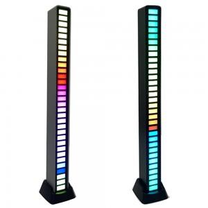 2X Black 32 LED RGB Sound App Control Light Bar Strip Light Car Atmosphere Light