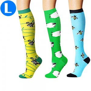 3 Pairs of Large Size Style 4 5 6 Womens Knee Length Compression Socks