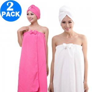 Women Bath Wrap for Shower with Hair Wrap Warm Loungewear Spa Wrap White and Rose Red