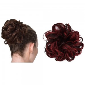 Messy Bun Scrunchie Hair Care Extension-Wine red