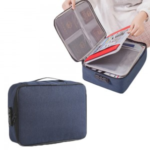 Document Certification Organiser with Lock Navy Blue