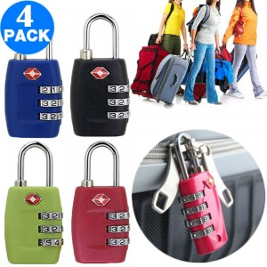 4 X TSA Travel Luggage Locks Black and Green and Navy and Rose Red