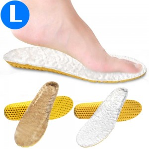 2 Pairs of Sport Artificial Plush Insoles White and Brown Large