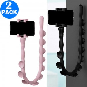 2 X Worm Design Phone Holders Black and Pink