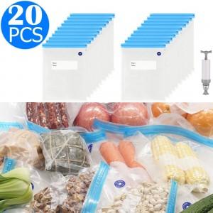 20PCS 16x20CM Reusable Food Vacuum Sealer Bag with One Manual Pump