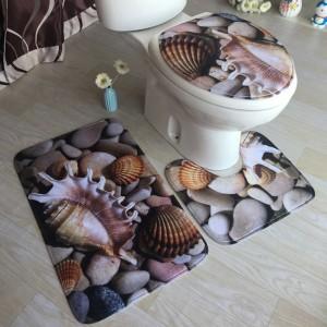 3pcs Bathroom Mat Set Home Decor - Ocean Style 1