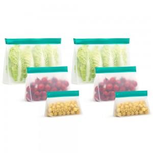 6 X Reusable Ziplock Leakproof Snack Bags