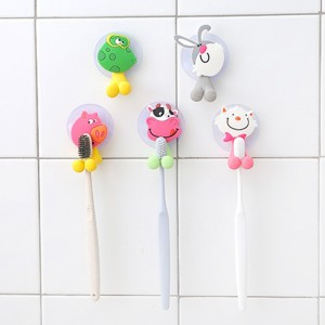 10 X Cute Cartoon Toothbrush Holder with Suction Mounts