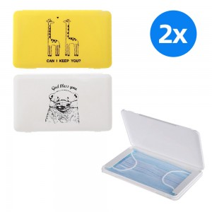 2pcs Health Face Mask Storage Boxs -Yellow aand White