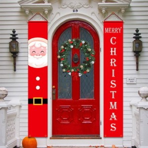 1Pair Christmas Porch Signs Christmas Door Couplet Banner